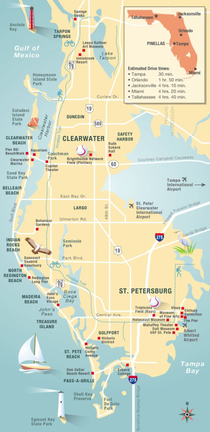 Pinellas County map  Clearwater, St Petersburg, FL