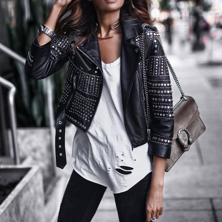 studded leather jacket and distressed tee