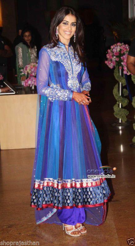 Bollywood Replica Designer Genelia D'souza Blue Anarkali Style Color Salwar Suit | eBay