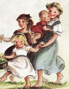Artist Tasha Tudor Girls in green dress and white dress remind me of my granddaughters, Logan and Layne