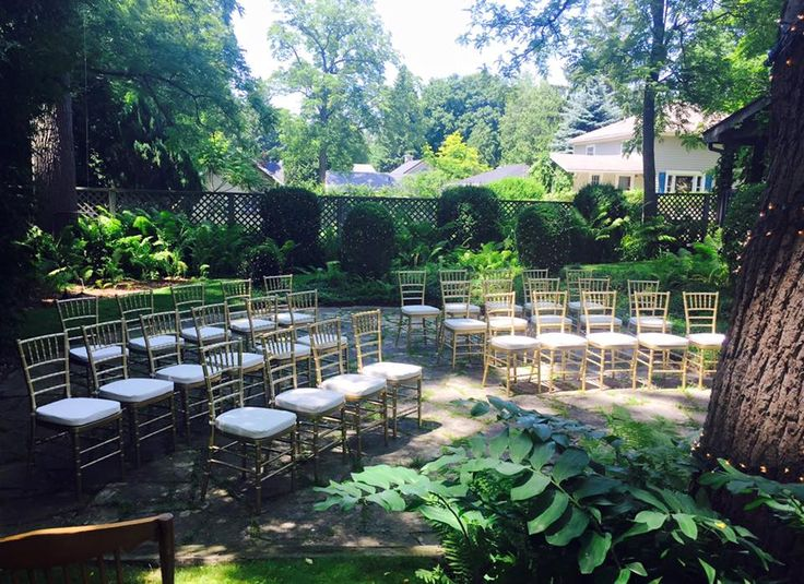 Lovely set up for a garden ceremony at our Guest Cottage