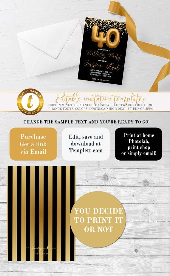 40th Birthday Party Foil Gold Invitation Adult Invitations Invites Black And Golden By RainySmile