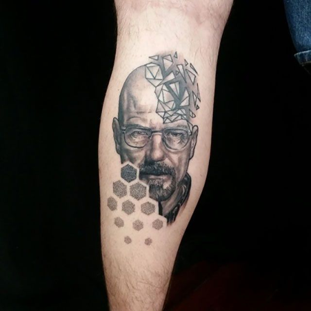 walter white heisenberg tatouage pointillisme la nouvelle m thode la mode tattoo. Black Bedroom Furniture Sets. Home Design Ideas