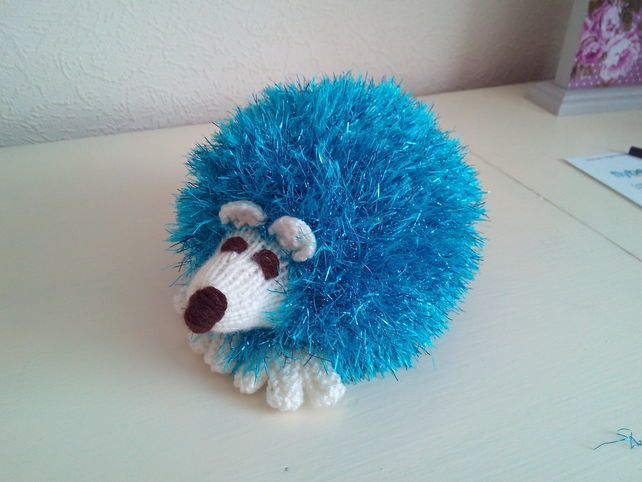 Hedgehog handmade with Tinsel Yarn Knitted Toy For Children And Collectors £10.95