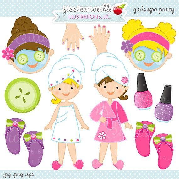 Girls Spa Party Cute Digital Clipart Commercial by JWIllustrations, $5.00