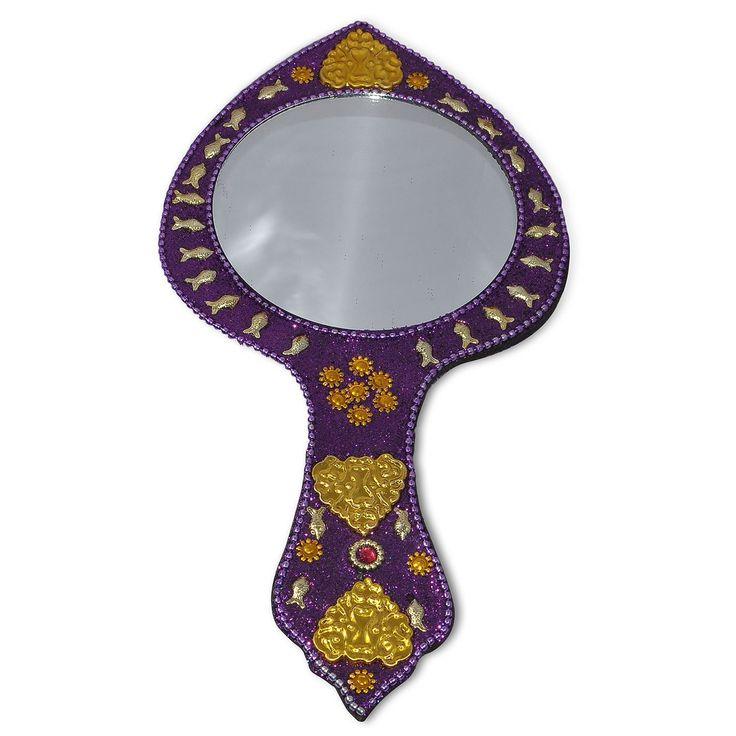 Purple Golden Fish Decorative Hand Mirror