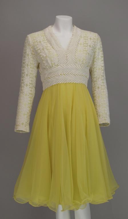 Lace & lemon chiffon cocktail dress 1960s Lillie Rubin  - wow, perfection of pretty & lady-like