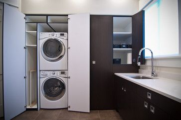 Turn a small laundry closet into a large cabinet.