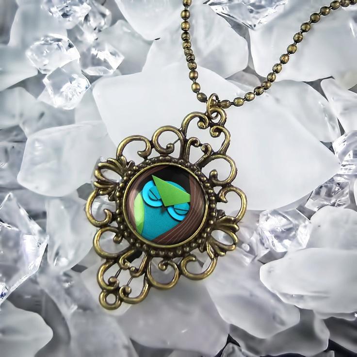 Ornate Paper Craft Sleeping Owl & Tree Fantasy Antique Bronze Necklace 77-AF. $18.99, via Etsy.