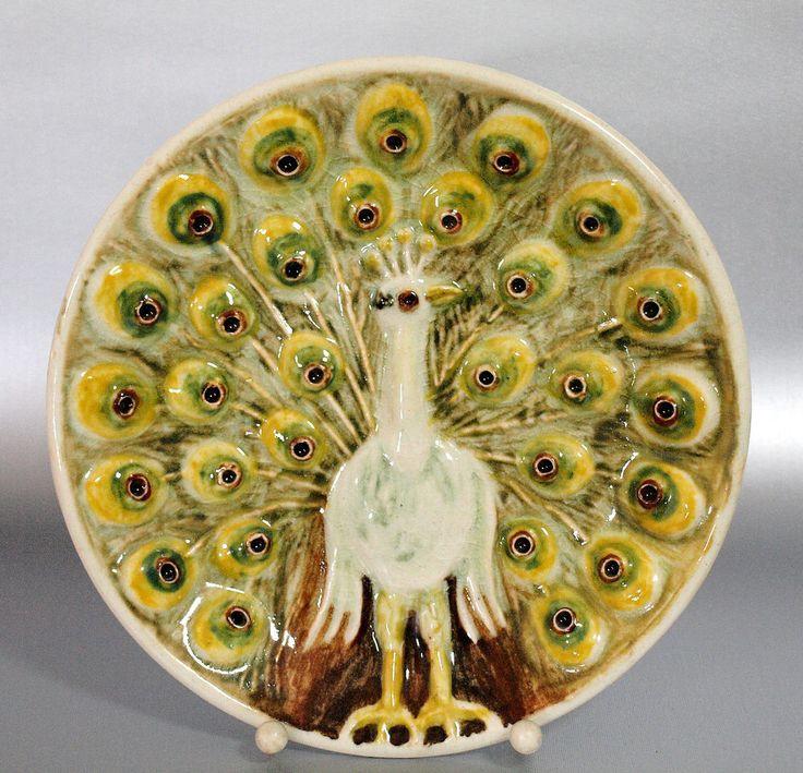 Keramik Wandteller mit Pfau von Kunststudio Keramik Schmidt-Pulsnitz