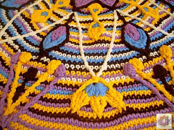 """Купить Ковер ручной работы разноцветный """"Мандала"""" из шнура - желтый, мандала, разноцветный, круглый, большой, ковер"""