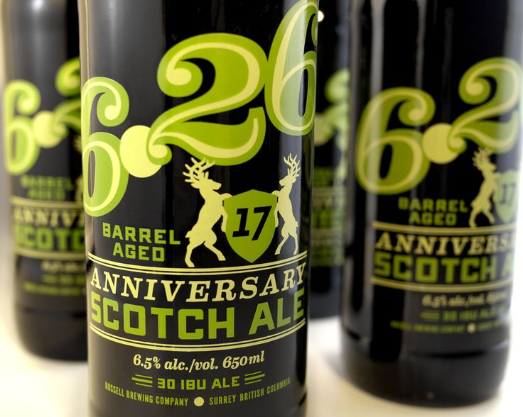"Designed by Atmosphere Design | Country: Canada  ""We branded a series of 650ml bottles for Russell Brewing for their Brewmaster Series. All these beers are strong in character and we want that reflected in the label designs in a bold, catchy way. With the ACL painted bottle print process we like to keep designs simple so one can pick up the entire message and feel of the product on a single glance and to cut through clutter on the store shelves."