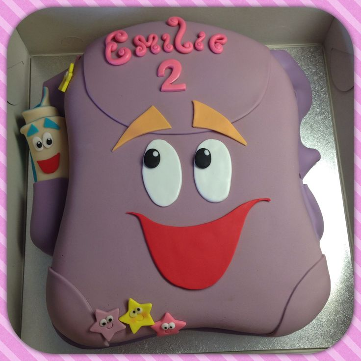 Backpack cake inspired by Dora the Explore cartoons. Designed and executed by Silvia Ramsvik www.silviaramsvik.com