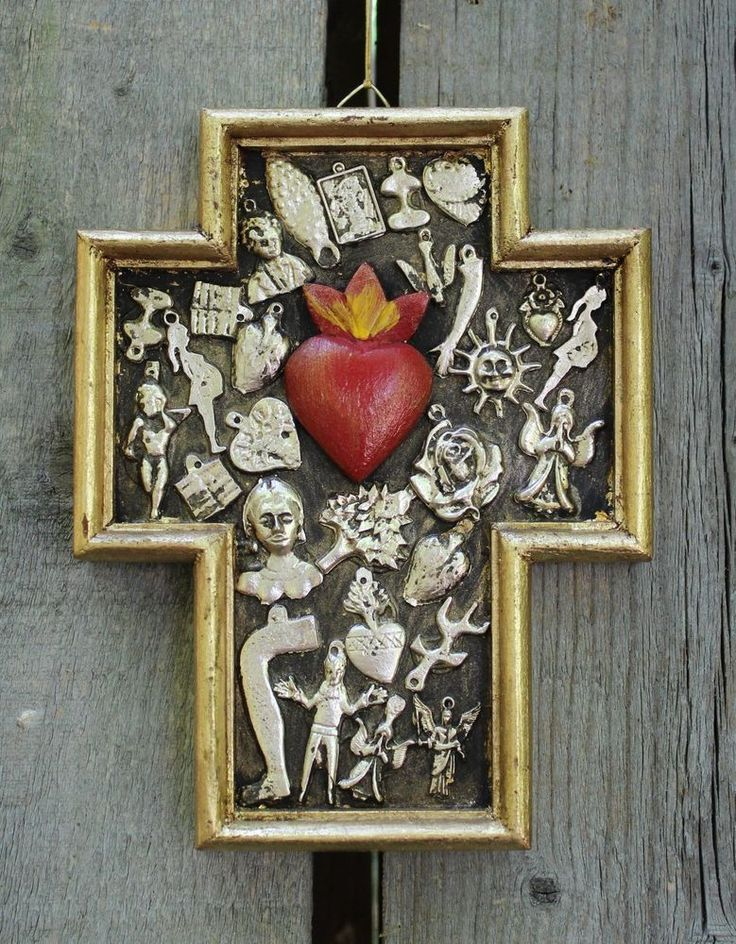 Small Size Sacred Heart Wood Cross Milagro / Miracles Mexican Folk Art Michoacán