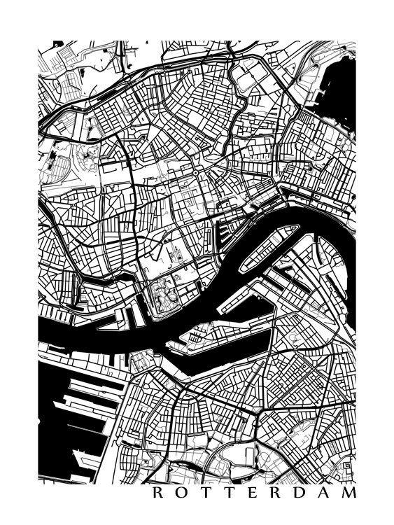 Rotterdam Map Art Poster Print by CartoCreative