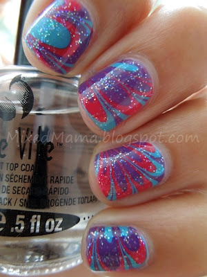 MixedMama: Purple, Blue, Hot Pink and Glitter Water Marble