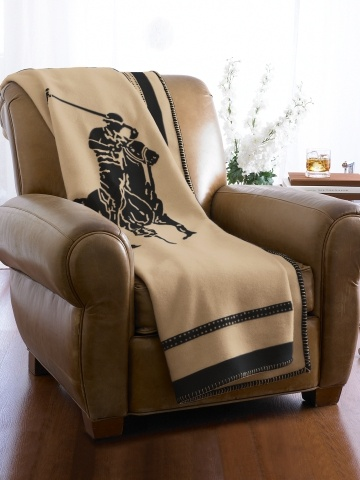 Polo Player Throw Blanket - Wool and Cashmere from Scotland.