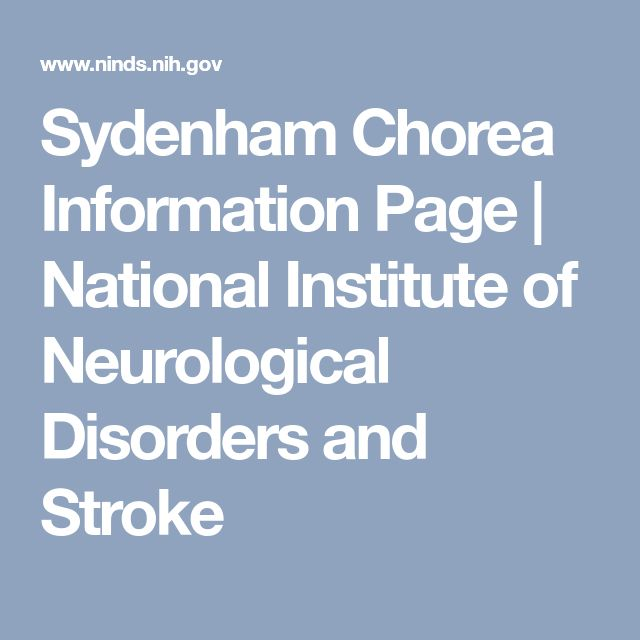 Sydenham Chorea Information Page | National Institute of Neurological Disorders and Stroke