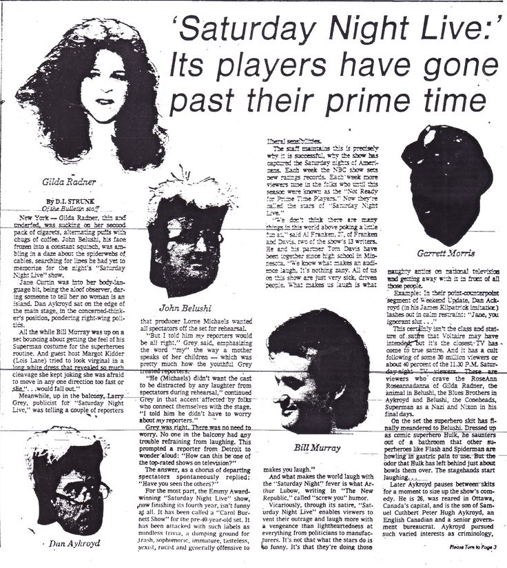 "1/2.  ""'Saturday Night Live:' Its players have gone past their prime time.""  From The Sunday Bulletin - Philadelphia; 25th March 1979, Section D Page 1.  Despite the title, this article actually wound up being complimentary towards the actors."