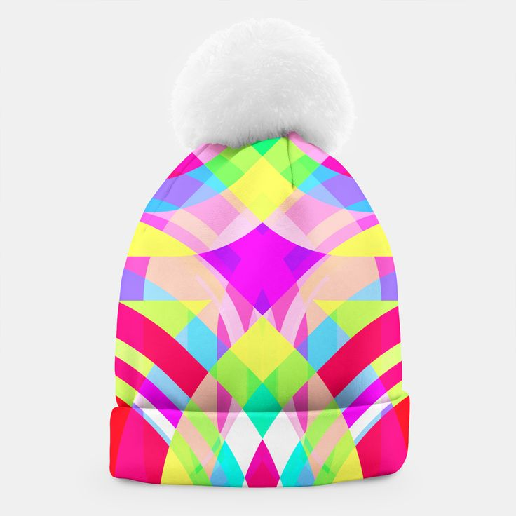 PSYCHOST hat by Fimbis    _____    ___________________________________   #headwear #wrapup #winter #xmas #vibrant #pattern #winteriscoming ___________________________________ A simple yet stylish beanie with a white pompon designed by you and for you. This winter you are going to look exceptional!Manufactured manually in Europe with best materials available, and printed with unique image of your choice! Live Heroes guarantees the highest quality of all products purchased.