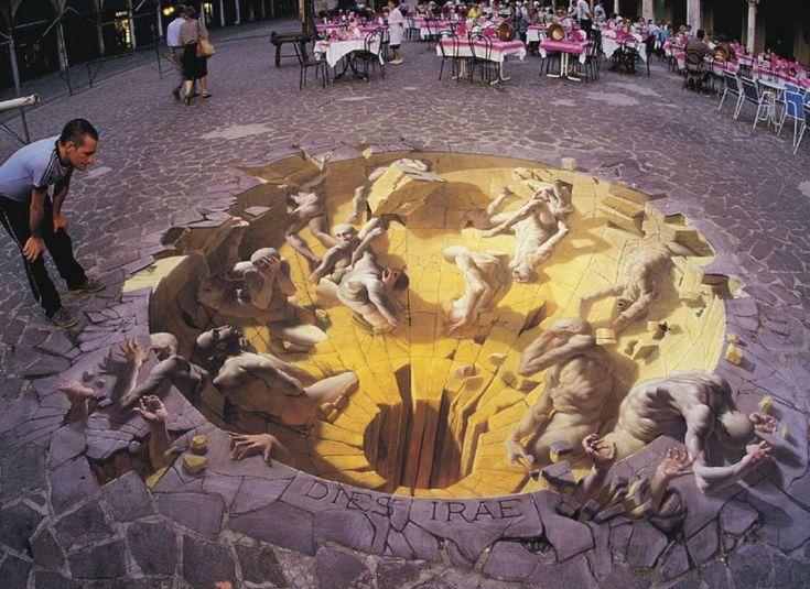 """Door de grond schildering is er een nieuwe """"ruimte"""" gecreëerd die er eerst niet was."""