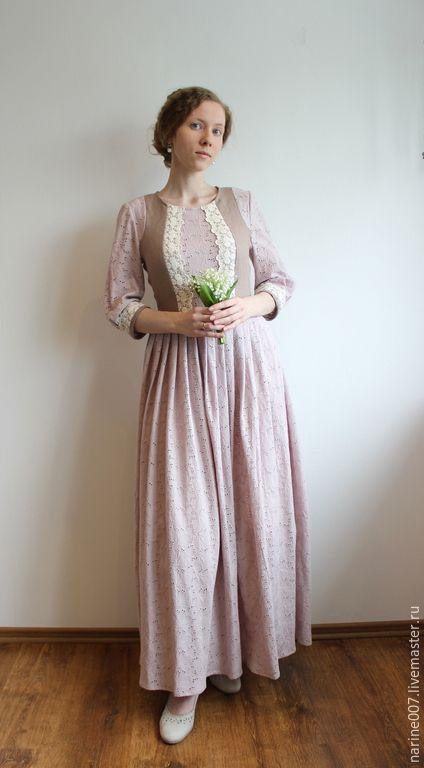"""Купить Платье из льна и вышитого хлопка """" Свидание"""" - однотонный, платье, платье летнее"""