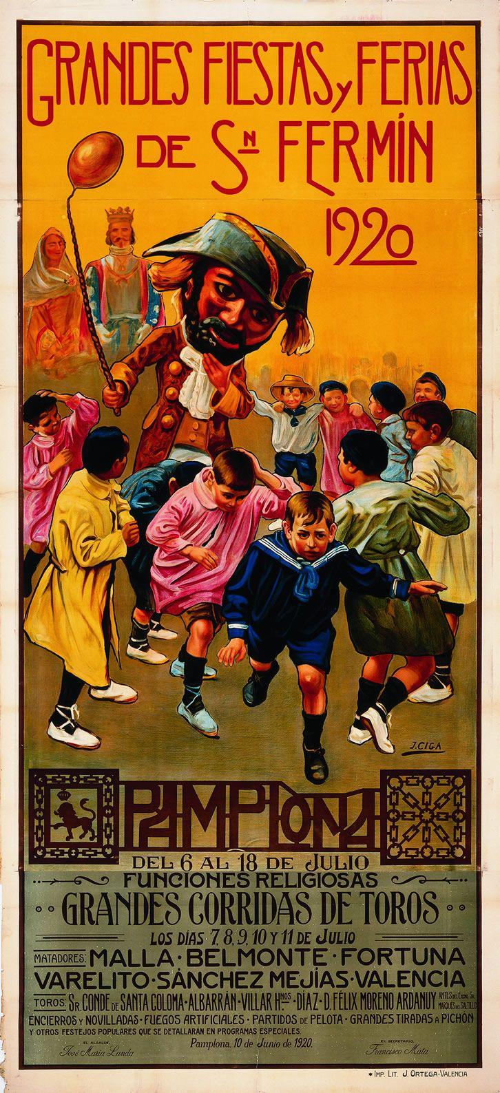 Cartel de los Sanfermines de 1920 - Fiestas y ferias de San Fermín, Pamplona :: Autor: Javier Ciga #Pamplona