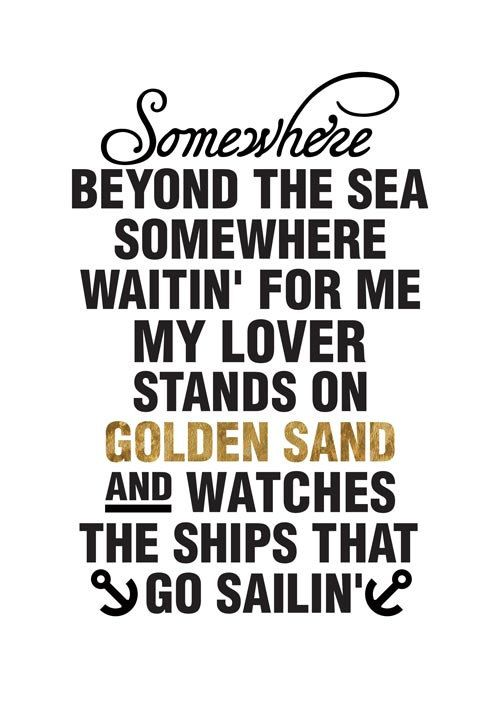 La mer music lyrics Poster print typography by PeanutoakPrint
