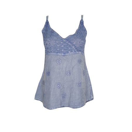 Mogul Women's Sexy Blouse Tank Top Blue Embroidered Rayon Strap Blouse XS  https://www.walmart.com/search/?query=mogul%20interior%20blouse%20top