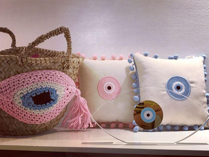 Handmade evileye objects de decoration by Cotton Prince Evileye straw basket-evileye pompon pillows- evileye plexiglass charm