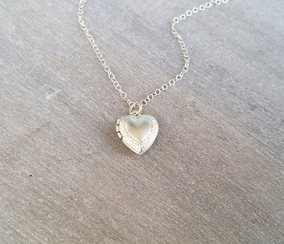 Silver heart necklace Locket necklace Heart by HLcollection
