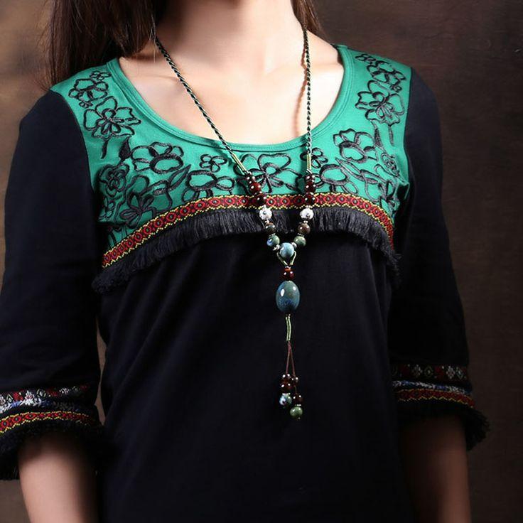 Купить товарНародная стиль ожерелье длинный осень керамическая ювелирные изделия Непал ручной работы бусы хлопка народном стиле аксессуары для одежды в категории Подвескина AliExpress.