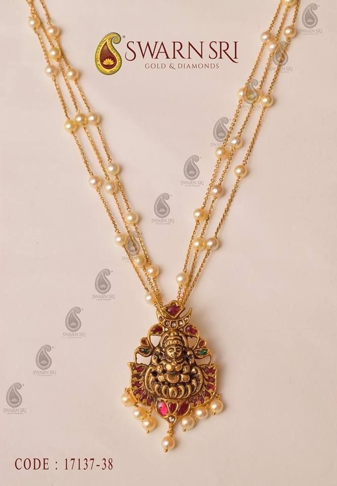 Pearls chain with 22carat gold Antique finish goddess Lakshmi Devi Pendant. Do u like it then save it n FOLLOW ME !!!