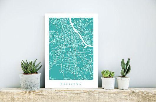 dodatki - plakaty, ilustracje, obrazy - grafiki i ilustracje-WARSZAWA - B2 - fragment mapy miasta na zamówien