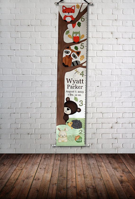 Canvas Growth Chart Custom Forest Friends by SweetDreamMurals