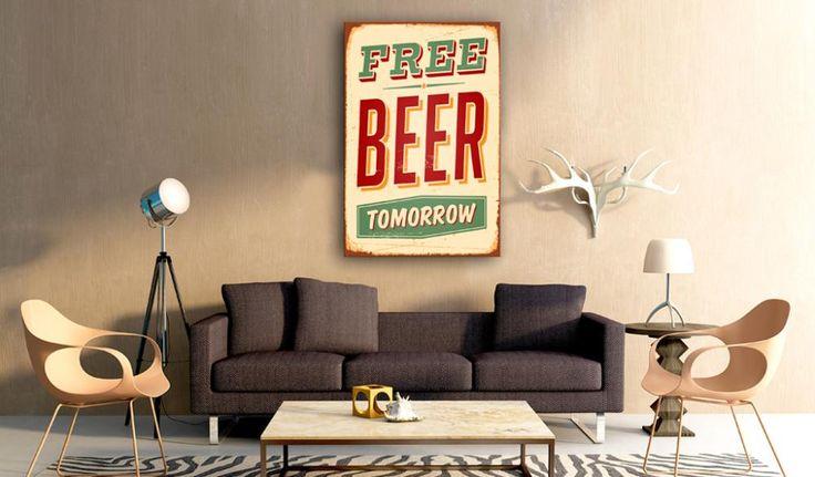 Free beer tomorrow. Bo zawsze warto mieć ciekawe plany na jutro :) Zobaczcie też inne obrazy nowoczesne w plakatowym stylu vintage!