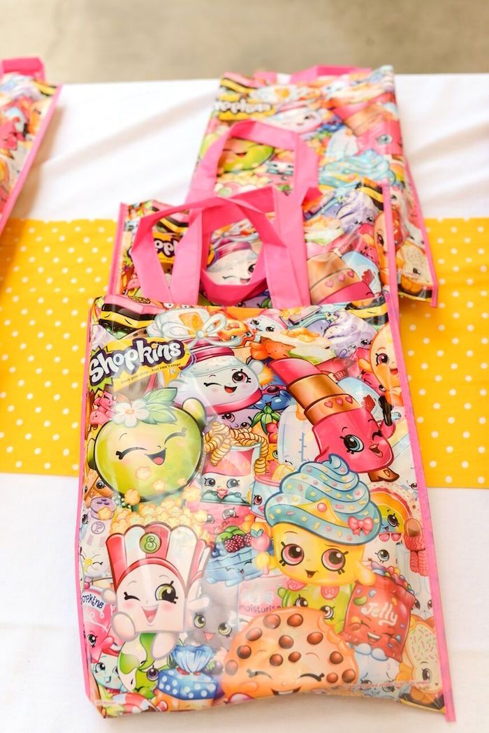Shopkins favor bags from Vibrant Shopkins Birthday Party at Kara's Party Ideas.