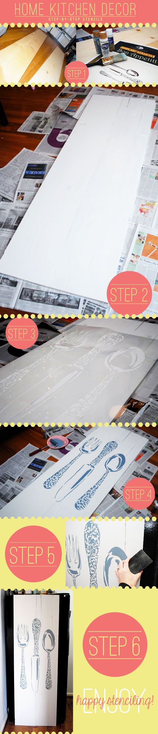 Stenciling Kitchen Decor using Bon Appetit Stencil tutorial