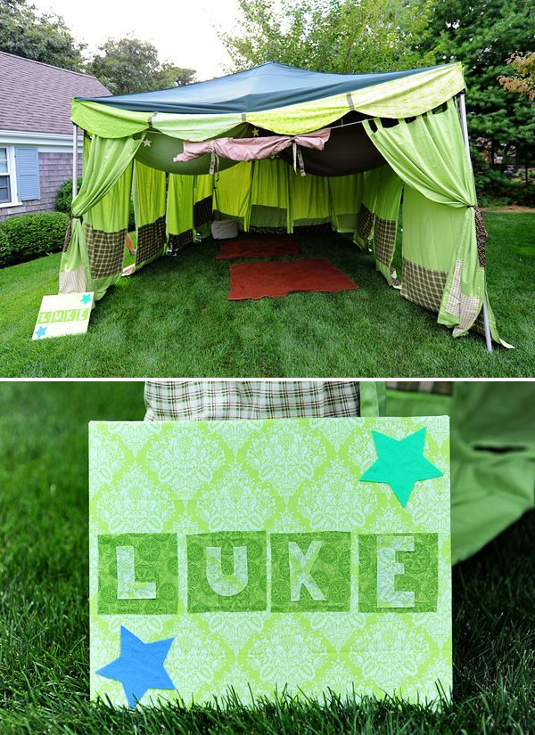 Inexpensive Target pop up tent + fabric tied to edges = fabulous party tent for a campout!