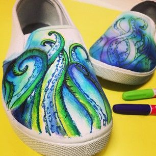 octopus painted shoes - Google Search