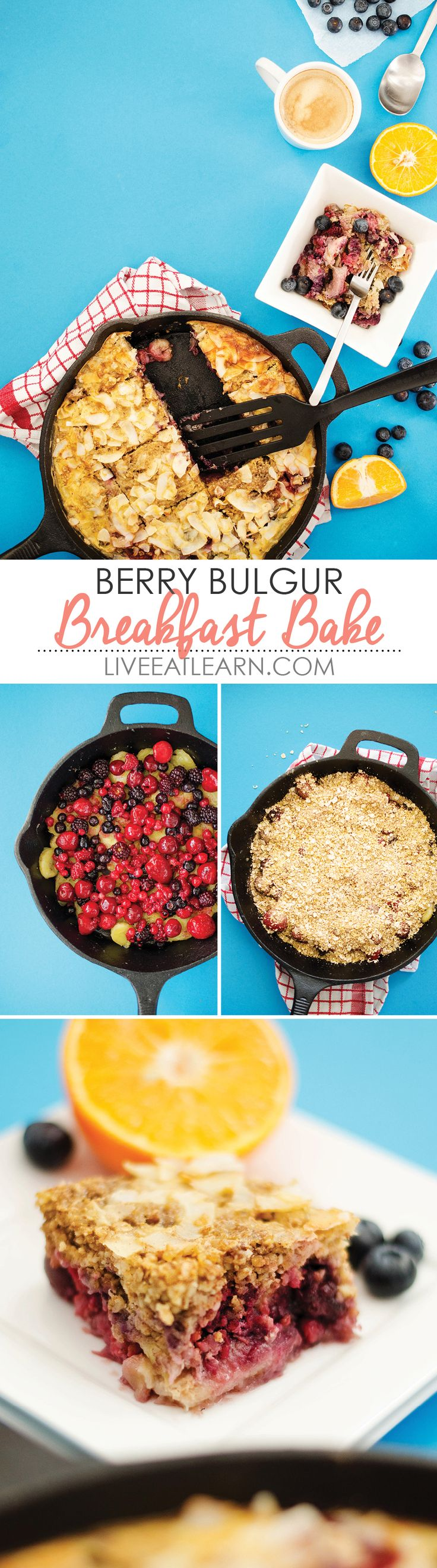 This berry bulgur breakfast bake is packed with antioxidant-rich fruit, fiber-full oats and bulgur, and comes together quickly and in one dish! It's the perfect healthy breakfast recipe to put your cast iron skillet to use. // Live Eat Learn