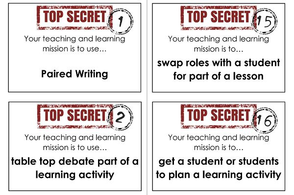 50 cards each with a different teaching and learning mission to encourage and promote creativity within lesson planning. Add some fun to CPD