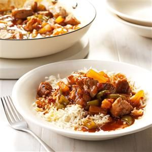 Tropical Sweet and Spicy Pork Tenderloin Recipe -When we crave something sweet and spicy, pork tenderloin cooked with chipotle, barbecue sauce and pineapple really delivers. —Cynthia Gerken, Naples, Florida
