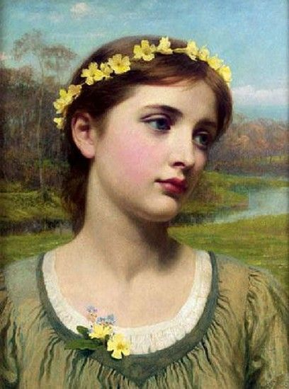 young woman with garland, sir frank dicksee