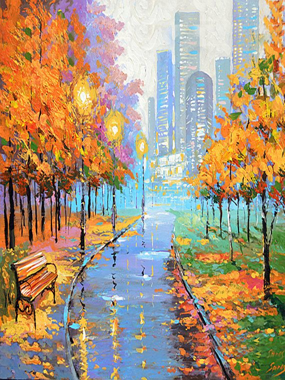 Autumn In The Big City Vertical Oil Painting On By