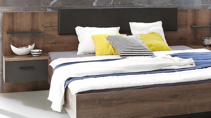 Bettanlage CHILLY Bett Nachtkommode Schlammeiche und Eiche schwarz 180