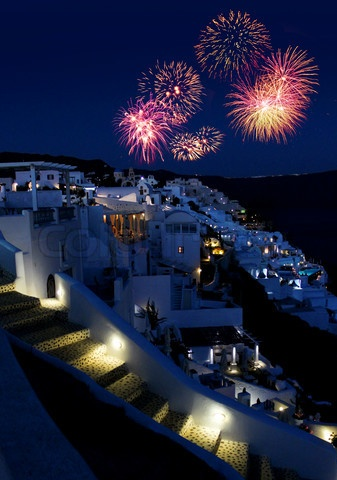 Easter in Santorini - Saturday night, fireworks lights up to the sky of the island!
