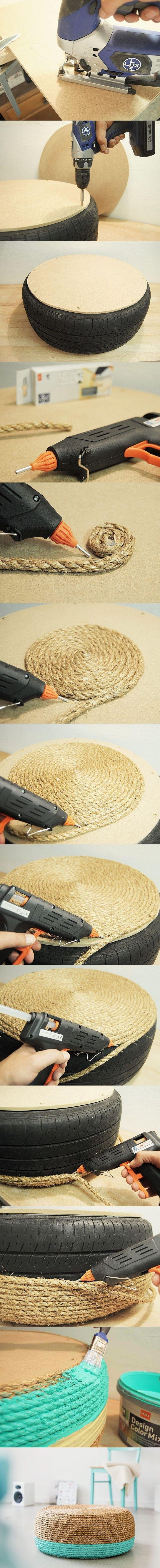 DIY: Taburete turquesa de bajo costo / http://www.tres-studio-blog.com
