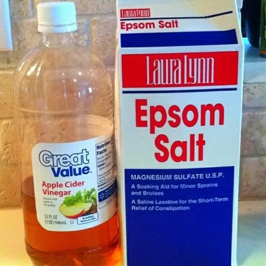 foot softening detoxifying foot soak. Fill a large bowl with warm water and add 1 cup apple cider vinegar with 1 cup Epsom salt. Soak your feet for 10-15 minutes, rinse and lightly scrub with pumice stone.