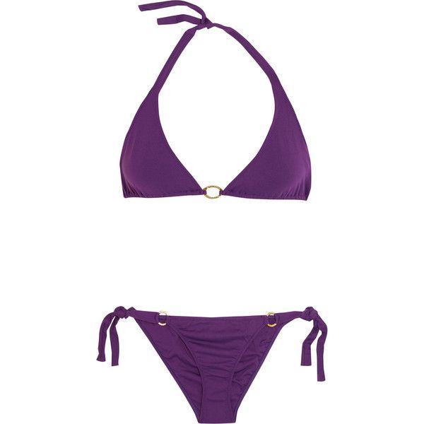 Melissa Odabash Tahiti triangle bikini ($110) ❤ liked on Polyvore featuring swimwear, bikinis, swimsuits, purple, neck ties, bathing suits bikini, triangle bikini, triangle bathing suits and triangle bikini swimwear